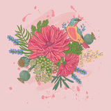 Vektorillustration eines Vogels und der Blumen Stockfoto