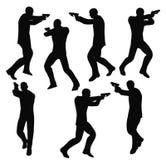Vektorillustration ENV 10 des Geschäftsmannschattenbildes des bewaffneten Banditen im Schwarzen Stockbilder