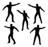 Vektorillustration ENV 10 des Geschäftsmannschattenbildes des bewaffneten Banditen im Schwarzen Lizenzfreie Stockbilder