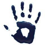 Druck der blauen Tinte Hand Stockfoto