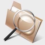 Suchikone, -ordner und -vergrößerungsglas Lizenzfreie Stockfotos