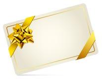 Geschenk-Karte mit Goldbogen. Vektorillustration. Lizenzfreies Stockfoto