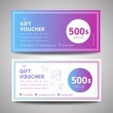 Vektorillustration, färgrik presentkortmall, mall för design för presentkortcertifikatkupong Arkivbilder