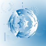 Vektorillustration för bakgrund med mekaniska kugghjul och hjul, abstrakt futuristiskt Royaltyfri Fotografi