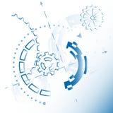 Vektorillustration för bakgrund med mekaniska kugghjul och hjul, abstrakt futuristiskt Arkivfoton