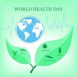 Vektorillustration för dag för världshälsa Arkivfoton