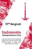 Vektorillustration för dagen för 17 August Indonesia Independence i grungestil Planlägg mallen för affischen, banret, flayer Arkivbilder