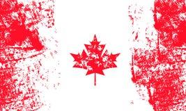 Vektorillustration för den Kanada dagen med den röda lönnlövet i tappningstil Planlägg mallen för affischen, banret, flayer, häls royaltyfri bild