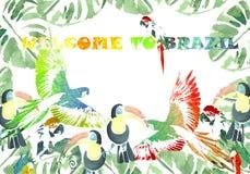 Vektorillustration för din design tropisk bakgrund Välkomnande till Brasilien Royaltyfria Foton