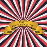 Vektorillustration för Egypten revolutiondag, retro stilhälsningkort med strålar och guld- band Royaltyfri Fotografi