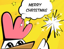 Vektorillustration för glad jul med tuppen, tomteblosset och text royaltyfri illustrationer