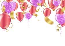 Vektorillustration för lycklig födelsedag - guld- foliekonfettier och Co vektor illustrationer