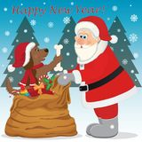 Vektorillustration för nytt år med jultomten och en hund Arkivbilder