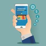 Vektorillustration för pengartransaktion, teknologi, affär, mobila bankrörelsen och mobilbetalning Arkivfoton