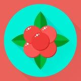 Vektorillustration, för symbolssten för lägenhet rund björnbärsbuske, skog rött b Arkivfoto