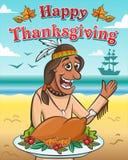 Vektorillustration för tacksägelsedag Lycklig indian med den bakade kalkon mot havet stock illustrationer