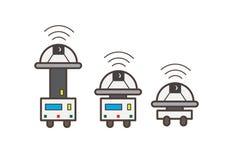 Vektorillustration för tre Robotic maskiner vektor illustrationer