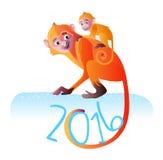 Vektorillustration för två röd apor Royaltyfri Bild