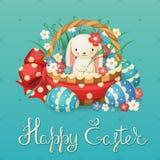 Vektorillustration für den Ostern-Feiertag Kaninchen in einem Korb mit Blumen und Eiern Stockfoto