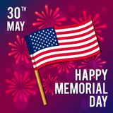 Vektorillustration für einen nationalen amerikanischen Feiertag Bild der Flagge Glücklicher Volkstrauertag Stockfotografie