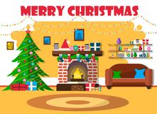 Vektorillustration für Weihnachten mit Weihnachtsbaum und Retro- Möbeln Flacher Entwurf mit Fichte und Kamin lizenzfreie abbildung