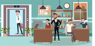 Vektorillustration in flacher Art Sa von Geschäftslokal-Teamarbeitskraftfrauen, -männern und -chef in der Uniform im Konferenzzim stock abbildung