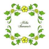 Vektorillustration formen hallo Sommer mit hellen gelben Kranzrahmen stock abbildung