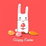 Vektorillustration - fröhliche Ostern. Osterhase Stockfoto