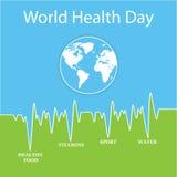 Vektorillustration för dag för världshälsa Arkivfoto