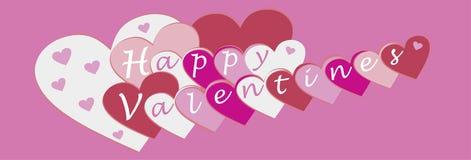 Vektorillustration glückliche Valentinsgrüße im Rosa und rot für Fahnen stock abbildung