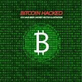 Vektorillustration: Hackad Bitcoin plånbok, röda ord och grön matrisdatabakgrund royaltyfri illustrationer