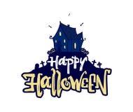 Vektorillustration: Handen drog tecknade filmen spökade huset och bokstäver av den lyckliga allhelgonaaftonen på vit bakgrund royaltyfri illustrationer