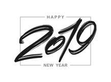 Vektorillustration: Handskriven borstefärgpulverbokstäver av 2019 i ram lyckligt nytt år royaltyfri illustrationer