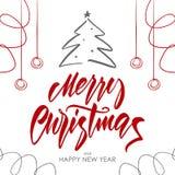 Vektorillustration: Handskriven borstetypbokstäver av glad jul på vit bakgrund vektor illustrationer