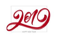 Vektorillustration: Handskriven texturerad borstebokstäver av 2019 lyckligt nytt år stock illustrationer