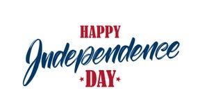Vektorillustration: Handskriven typbokstäversammansättning av den lyckliga självständighetsdagen Fjärdedel av Juli den typografis royaltyfri illustrationer