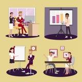 Vektorillustration i en plan stil av kvinnor, män och framstickandet för arbetare för lag för affärskontor i likformig i mötesrum royaltyfri illustrationer