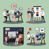 Vektorillustration i en plan stil av kvinnor, män och framstickandet för arbetare för lag för affärskontor i likformig i mötesrum stock illustrationer