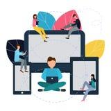 Vektorillustration i plan stil Meddela via internet, sociala nätverk, pratstund, nyheterna, video, meddelanden, website, sökande vektor illustrationer