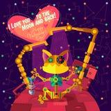 Vektorillustration i plan stil om roboten greeting lyckligt nytt år för 2007 kort Royaltyfri Fotografi