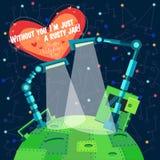 Vektorillustration i plan stil om roboten greeting lyckligt nytt år för 2007 kort Arkivbild