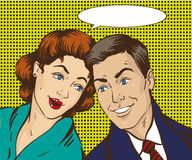 Vektorillustration i popet Art Style Kvinnan och mannen talar till varandra Retro komiker Skvaller ryktas samtal stock illustrationer