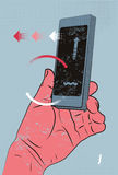 Vektorillustration i retro stil med den smarta telefonen för handinnehav, rörande skärm Arkivfoton