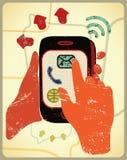 Vektorillustration i retro stil med händer som rymmer en smart telefon stock illustrationer