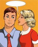 Vektorillustration im Knall Art Style Frau, die Geheimnis erklärt zu bemannen Retro- komisches Klatsch und verbreitet Gespräche g Lizenzfreies Stockfoto