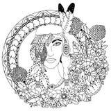 Vektorillustration, indianflicka i rund ram Blom- teckning för klotter Meditativa övningar för färgläggningdiagram för bok färgri Royaltyfri Bild