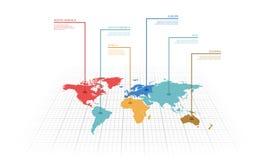 Vektorillustration infographic von der Weltkarte Stockfoto
