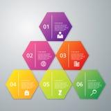 Vektorillustration infographics sechs Hexagon Lizenzfreie Stockfotos