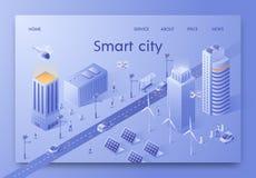 Vektorillustration isometriska skriftliga Smart City vektor illustrationer