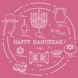 Vektorillustration: Jüdischer Feiertag Chanukka: dreidel, sivivon,
